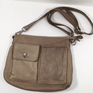 Roots Tan Leather Crossbody